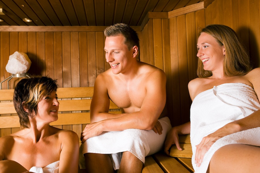 3 people in sauna
