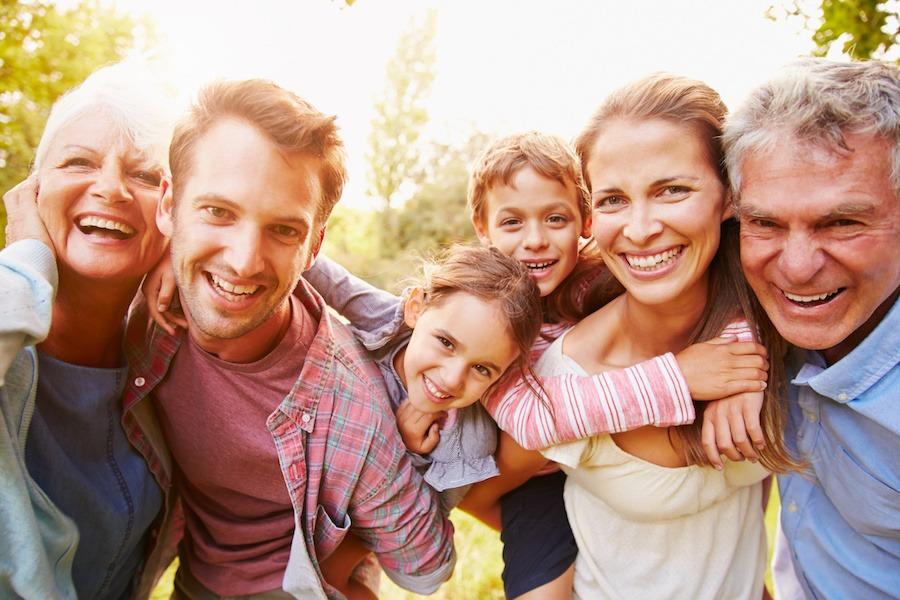 Family enjoying holiday home