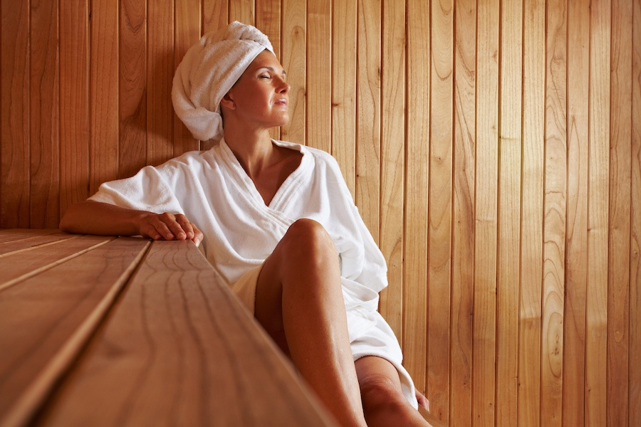 Lady in sauna